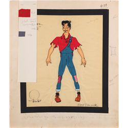 "Alvin Colt costume design sketch for Peter Palmer ""Li'l Abner Yokum"" from Li'l Abner"