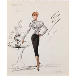 Edith Head costume design sketch for Patricia Neal from Hud