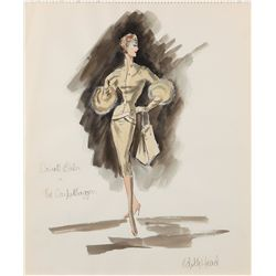 Edith Head costume sketch of Carroll Baker from The Carptebaggers