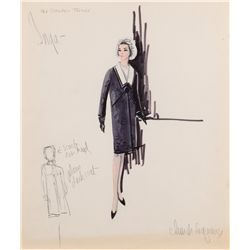 Pair of Edith Head sketches of Anne Bancroft from The Slender Thread