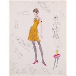 Edith Head costume sketch of Chita Rivera from Sweet Charity