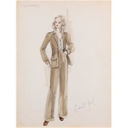 Edith Head sketch of Jill Clayburgh as Carole Lombard in Gable and Lombard