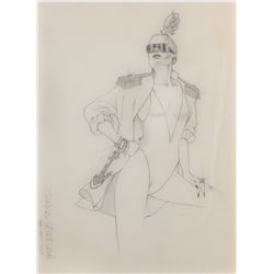Wayne Finkelman costume sketch of Goldie Hawn from Overboard
