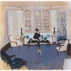 Orry-Kelly set concept artwork for stage production of Auntie Mame signed by Rosalind Russell