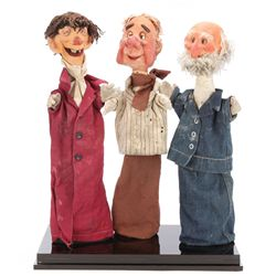 Trio of screen-used Don Tennant puppets from Hold'er Newt, the first puppet show for ABC-TV