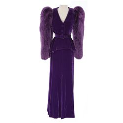 """Joan Collins """"Alexis Carrington Colby"""" fur-trimmed jacket and skirt from Dynasty"""