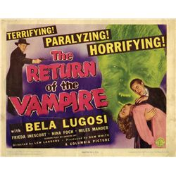 The Return of the Vampire original U.S. Title-card from the Bela Lugosi family collection