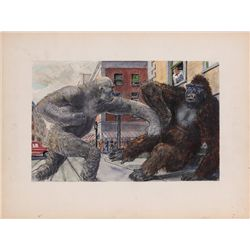 Willis O'Brien concept art of monsters fighting for King Kong vs. Frankenstein