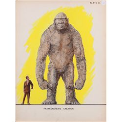 Willis O'Brien concept art of Frankenstein's Creation for King Kong vs. Frankenstein