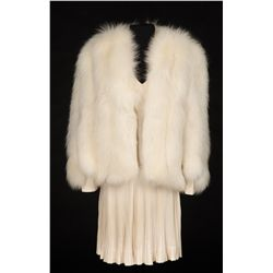 White fox coat and matching eggshell skirt worn by Judy Garland from the collection of Howard Shoup