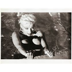 Collection of (4) oversize photos of Marilyn Monroe nude swimming pool session, printed ca. 1970