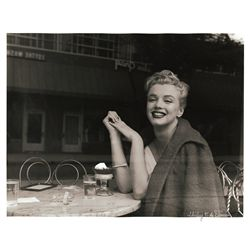 Marilyn Monroe oversize print by Andre de Dienes, café window pose