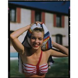 Marilyn Monroe original 4 x 5 in. color camera transparency, swimsuit pose with towel