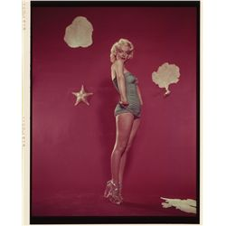 Marilyn Monroe original color transparency, swimsuit pose with platform shoes