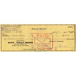 Marilyn Monroe signed check to her housekeeper, Eunice Murray
