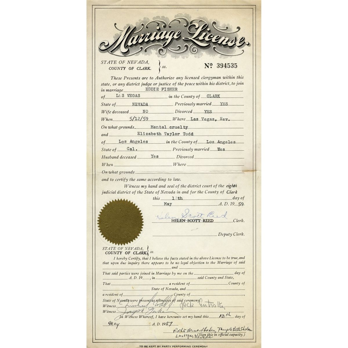 Elizabeth Taylor And Eddie Fishers Marriage License From Their Las