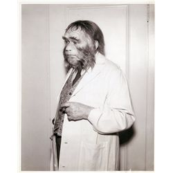 "Edward G. Robinson ""Zaius"" early make-up test photo with long note on verso by John Chambers"
