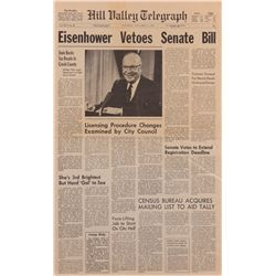 "Hill Valley Telegraph ""Eisenhower Vetoes Senate Bill"" from Back to the Future"