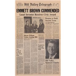 "Hill Valley Telegraph ""Emmett Brown Commended"" from Back to the Future II"