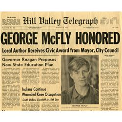 "Pair of Hill Valley Telegraph ""George McFly"" newspapers from Back to the Future II"