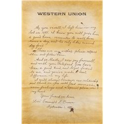 "Western Union oversize ""Doc"" letter to ""Marty"" from Back to the Future II"