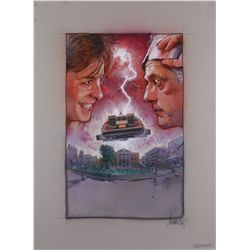 Original concept poster artwork of Doc and Marty with the DeLorean from Back to the Future II