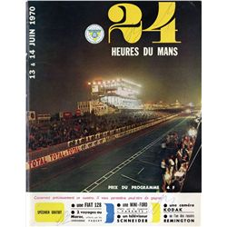 Vintage 1970 Le Mans 24 Hour race program, window decal and other items