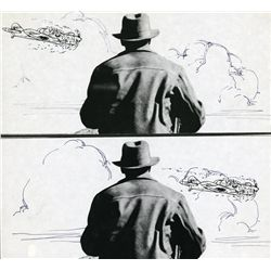 German plane hitting flock of birds storyboard sequence from Indiana Jones and the Last Crusade