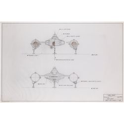 Original Y-Wing fighter technical drawings from Star Wars: Episode IV- A New Hope