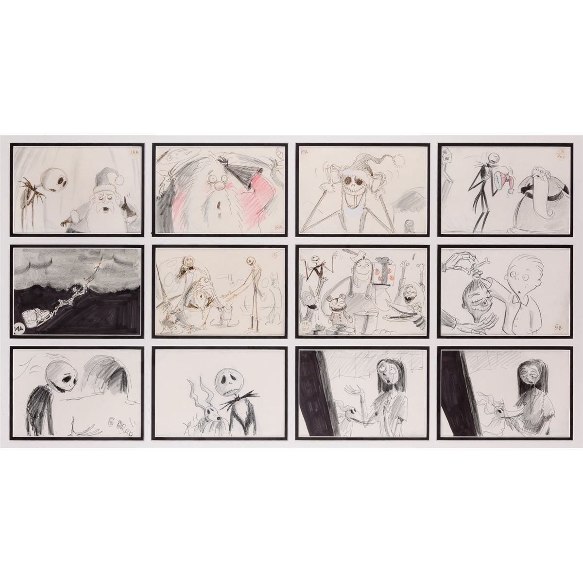 Collection of 12 storyboard panels from The Nightmare Before Christmas