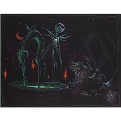 Concept artwork of Jack Skellington in Halloween Town square from The Nightmare Before Christmas