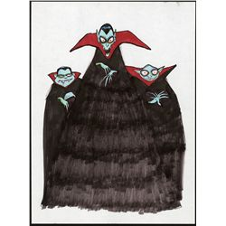 Concept artwork of the vampires from The Nightmare Before Christmas