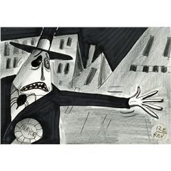 Collection of 8 storyboard panels from The Nightmare Before Christmas