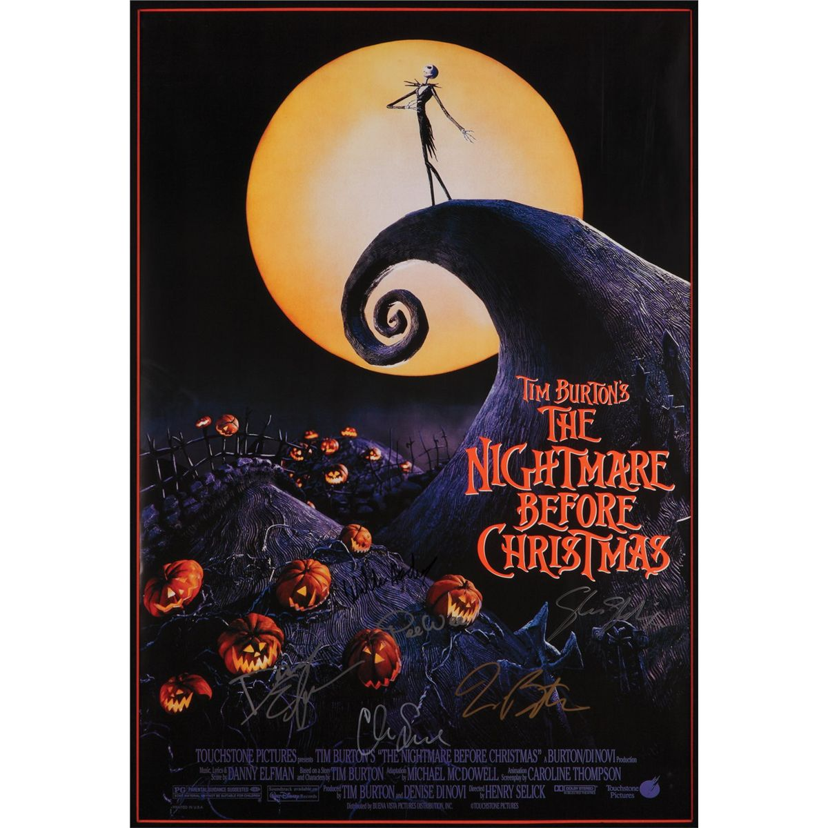 the nightmare before christmas poster signed by tim burton danny elfman and other cast members - Tim Burtons The Nightmare Before Christmas