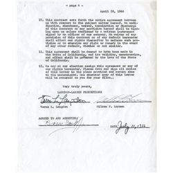 """Boris Karloff Verne Langdon ensemble, includes signed contract for """"An Evening with Boris Karloff"""""""
