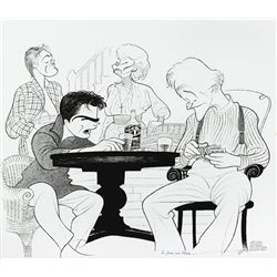 Al Hirschfeld drawing of Jack Lemmon and cast members from Broadway's Long Day's Journey Into Night