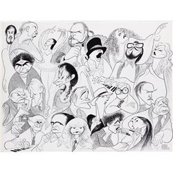 Al Hirschfeld original pen & ink drawing of Jack Lemmon with stars of the arts and stage