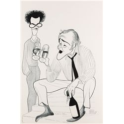 Al Hirschfeld original pen & ink drawing of Jack Lemmon and young man with wine glasses