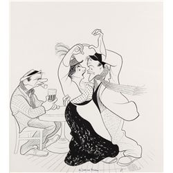 Al Hirschfeld pen & ink drawing of Jack Lemmon, Elaine Stritch, and Walter Matthau from Out to Sea
