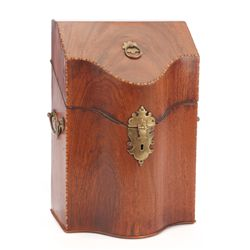 Antique Mahogany English stationery box together with antique sewing kit