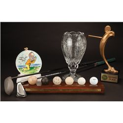 Group of golf awards and other items