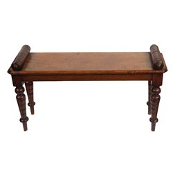 Victorian mahogany hall bench