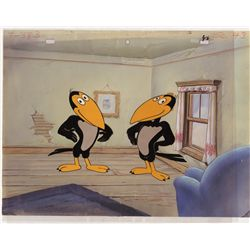 Original production cel of Heckle and Jeckle on production background