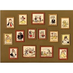 Collection of mini-paintings by Popeye comic strip artist, Bud Sagendorf