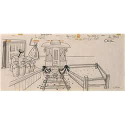Original production layout drawing of Mr. Magoo