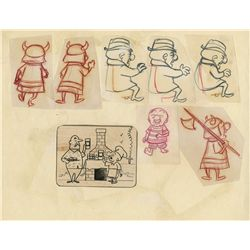 Original production model sheet and layout drawing of Mr. Magoo