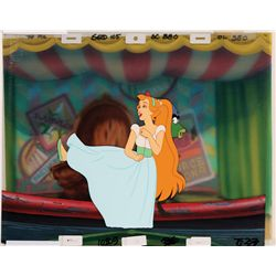 Original production cel and production background from Thumbelina