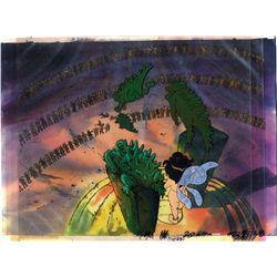 Original production cel and production background of Elinore and beasts from Wizards