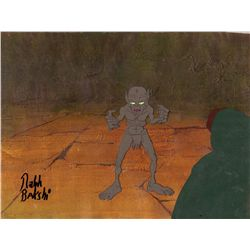 Gollum original production cel on keyproduction background from The Lord of the Rings