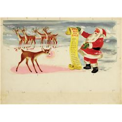 Original artwork (12) for the Little Golden Book, Rudolph the Red-Nosed Reindeer by Richard Scarry
